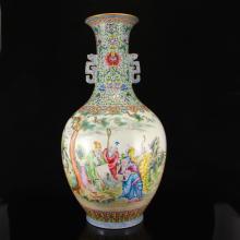 Superb Hand-painted Chinese Gilt Edges Famille Rose Porcelain Big Vase w Qian Long Mark