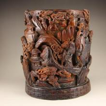 Chinese Ming Dynasty High-relief Ox Horn Brush Pot w Mountain Village Scenery