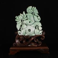 Superb Natural Jadeite/Jade Statue w Carp & Lotus Flower