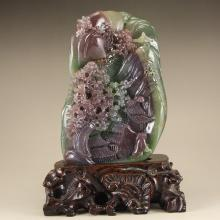Chinese Natural Agate Statue - Poet & Pine Tree