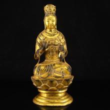 Chinese Gilt Gold Bronze Kwan-yin Statue