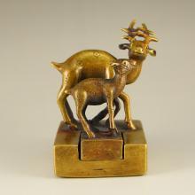 Vintage Chinese Brass Plum Flower Deer Seal