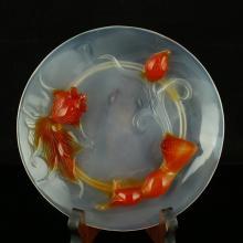 Chinese Agate Plate w Goldfish & Lotus
