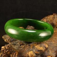 Inside Diameter 57 mm Superb Chinese Green Hetian Jade Bracelet w Certificate
