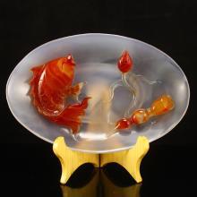 Beautiful Color Chinese Natural Agate Plate - Carp & Lotus