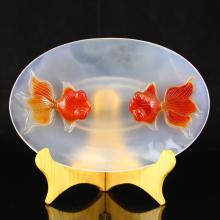 Beautiful Color Chinese Natural Agate Plate w Goldfishes
