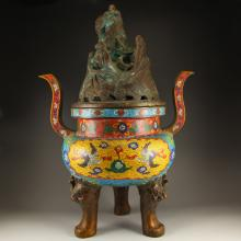 13 Kg Chinese Bronze Double Ears 3 Lags Incense Burner