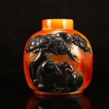 Superb Chinese Agate Snuff Bottle w Monkey & Horse