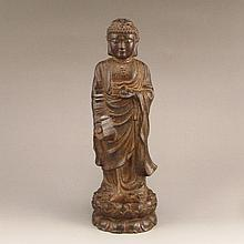 Hand Carved Chinese Natural Chenxiang Wood Statue - Buddha