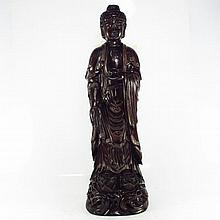 Chinese Natural Black Sanders Wood Inlay Silver Wire Statue - Lotus Buddha