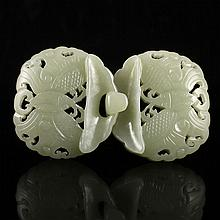 Hollow-out Carved Chinese Natural Hetian Jade Belt Buckle w Fortune Bat