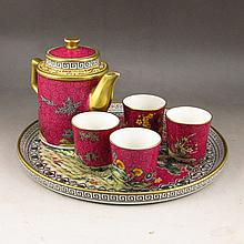 A Set Hand-painted Chinese Gilted Famille Rose Porcelain Teapot Cup Plate