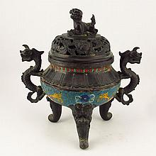Vintage Hand Carved Chinese Cloisonne Bronze 3 Legs Incense Burner w Dragon