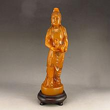 Hand Carved Chinese Natural Shoushan Stone Statue - Kwan-yin w Foo Dog