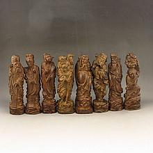 Hand Carved Chinese Natural Chen Xiang Wood Eight Taoism Deity