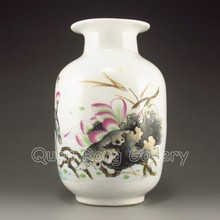 Hand-painted Chinese Su Colors Porcelain Vase w Lotus Flower