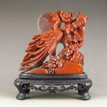 Hand-carved Chinese Shoushan Stone Statue - Phoenix & Flowers