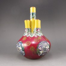 Hand-painted Chinese Colour Enamels Porcelain Four Mouth Vase w Yong Zheng Mark