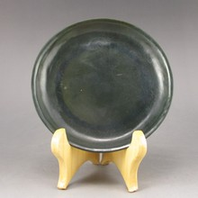 Hand-carved Chinese Natural Deep Green Hetian Jade Plate