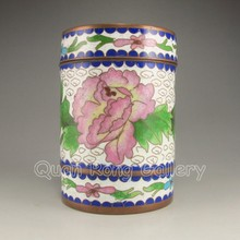 Chinese Bronze Cloisonne Tea Caddy w Flowers