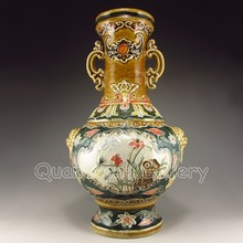 Hand-painted Chinese Double - ear Carved Flower Porcelain Vase w Qian Long Mark