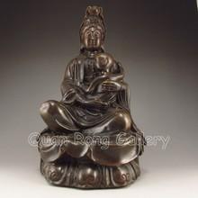 Chinese Bronze Statue - Kwan-yin & Fortune Kid