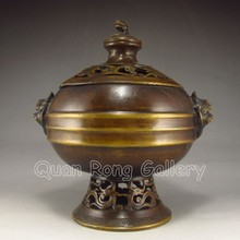 Chinese Brass Incense Burner w Pi Xiu Dragon & Mark