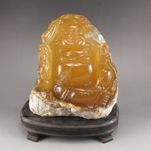 Hand-carved Chinese Shoushan Stone Statue - Laughing Buddha