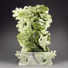 Superb Hand-carved Chinese Natural Jade Statue - Crane & Pine Tree