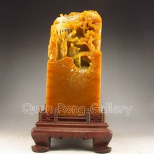 Huge Superb Hand-carved Chinese Shoushan Stone Statue - Man & Pine Tree