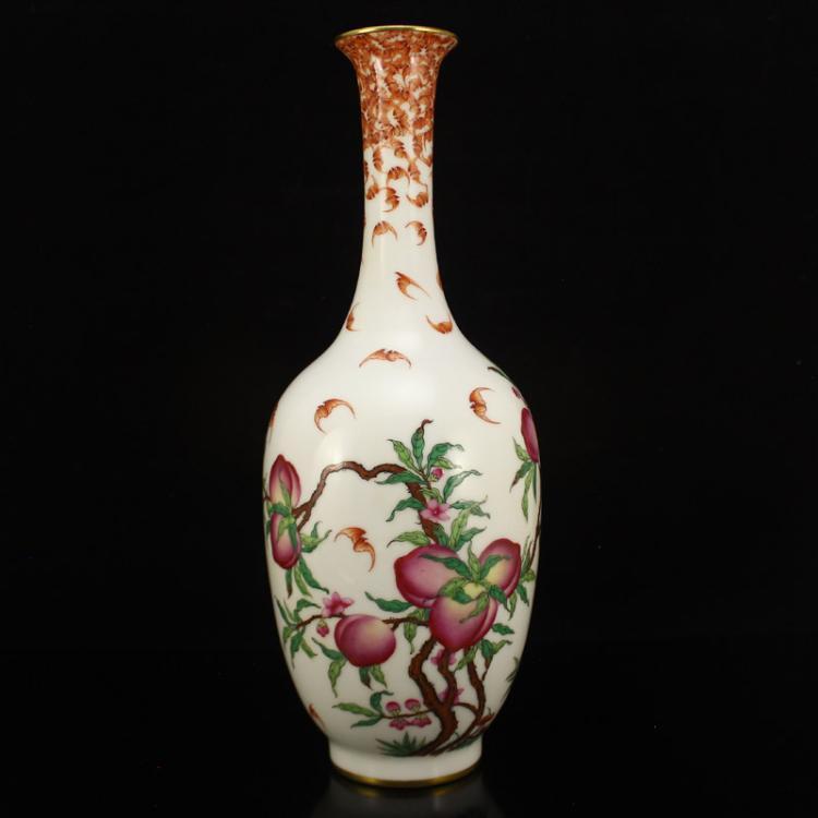 Chinese Qing Dynasty Gilt Gold Famille Rose Porcelain Vase w Qianlong Mark
