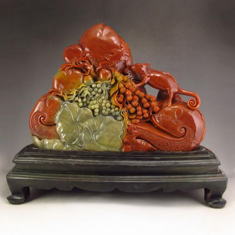 Chinese Natural Shoushan Stone Statue - Lizard & Peanut w Certificate