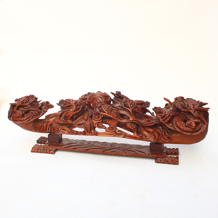 Openwork Chinese Huali Wood Dragons Amp Fire Ball Ruyi Statue
