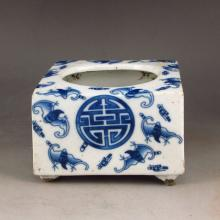 Hand-painted Chinese Blue And White Porcelain Brush Washer w Fortune Bat & Qing Dy Guang Xu Mark