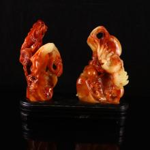 Superb A Set Hand Carved Chinese Natural Shoushan Stone Statue - Dragon & Phoenix