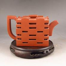 Fine Handmade Chinese Yixing Zisha Clay Double Layer Teapot Artist Signed