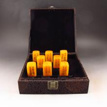 A Set Eight Piece Hand Carved Chinese Natural Shoushan Stone Seal