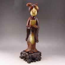 Vintage Qing Dy Hand Carved Natural Hetian Jade Statue - Look Book Woman