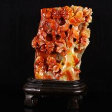 Superb Color Hand Carved Chinese Natural Shoushan Stone w Butterfly & Plum Flower