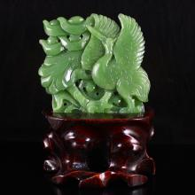 Hand Carved Chinese Natural Green Hetian Jade Statue - Fortune Crane & Lotus Flower