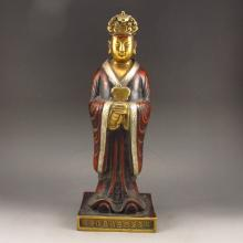 Chinese Gold-plating Colored Brass Statue - The Queen Mother Of The West