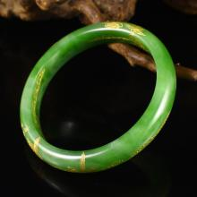Superb Hand Carved Chinese Natural Green Hetian Jade Bracelet