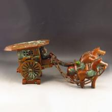 Vintage Hand Carved Chinese Natural Jade Statue - Horse-drawn Vehicles