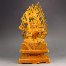 Hand Carved Chinese Natural Boxwood Hard Wood Statue - Fire-fiend