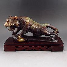 Vintage Hand Carved Chinese Natural Hetian Jade Statue - Tiger