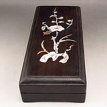 Hand Carved Chinese Duan Inkstone & Sanderswood Box Inlay Conch