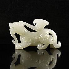 Hand Carved Chinese Natural Hetian Jade Pendant - Chi Dragon