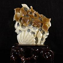 Hollow-out Carved Chinese Natural Hetian Jade Statue w Goldfishes