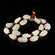 Hand Carved Chinese Natural Hetian Jade Necklace