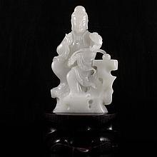 Hand Carved Chinese Natural White Hetian Jade Statue - Ruyi Kwan-yin